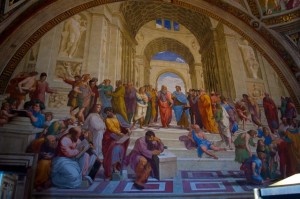 """The School of Athens"" in the Raphael Rooms, the Vatican Museum"
