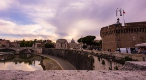 View of St. Peter's Basilica and Castle St. Angelo from St. Angelo Bridge, The Vatican