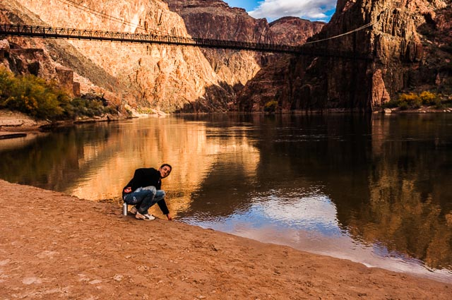 Daniele at the Colorado River at the bottom of the Grand Canyon Nation Park, Arizona, USA