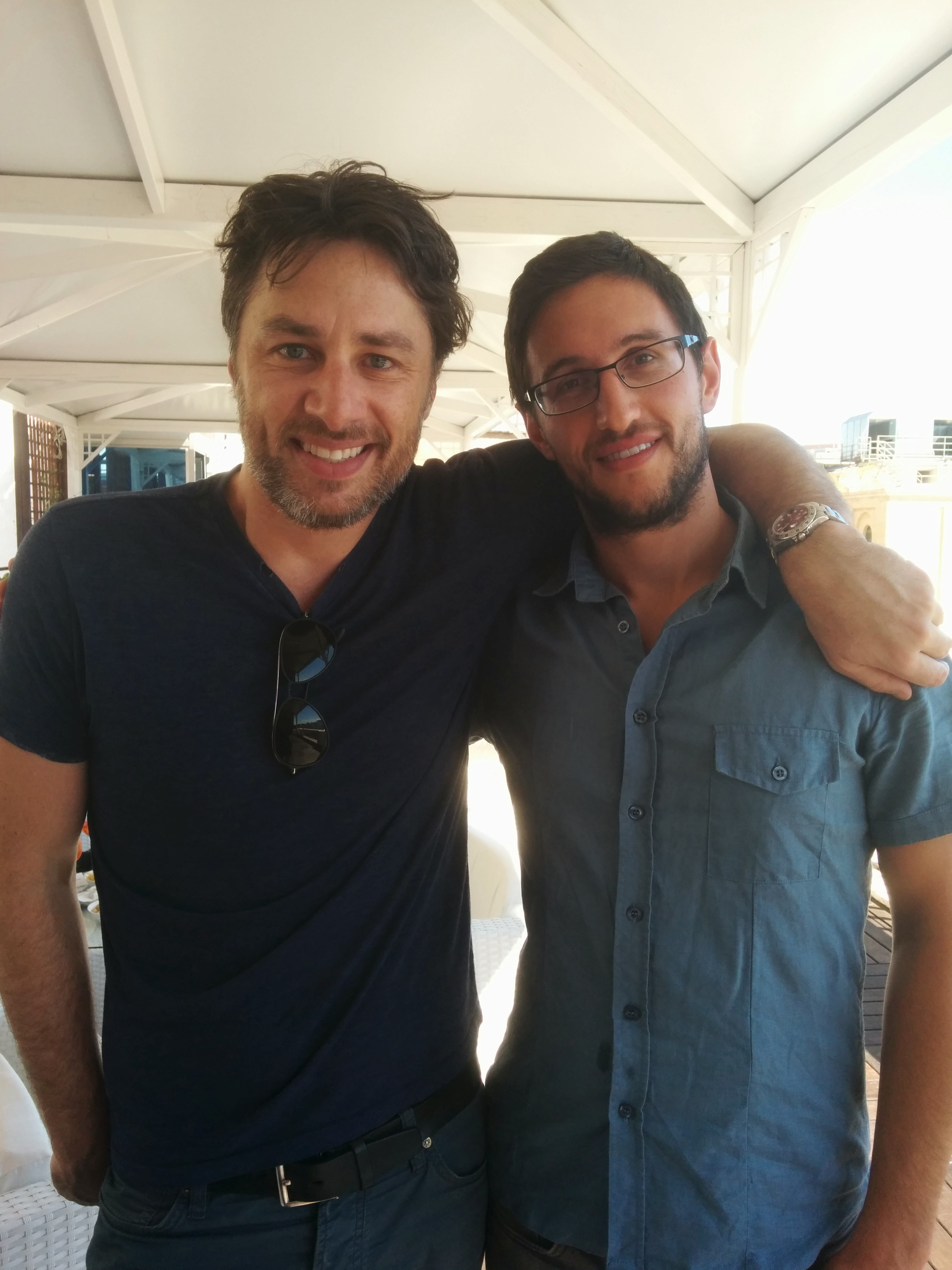 Zach Braff and Daniele Isidori having drinks before the Italy premiere of Wish I Was Here