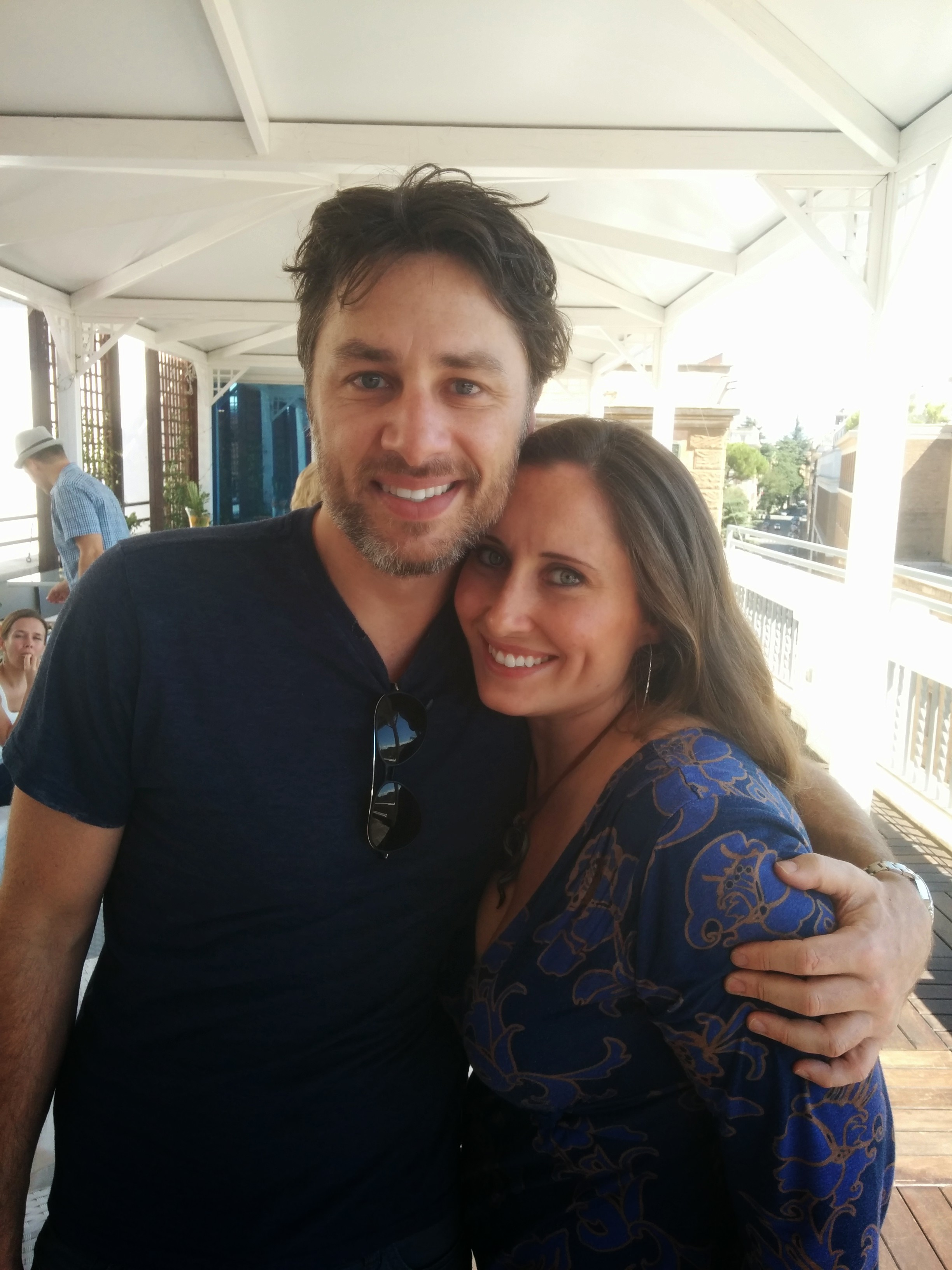 Zach Braff, Kaitlyn Hanrahan, and Daniele Isidori having drinks before the Italy premiere of Wish I Was Here
