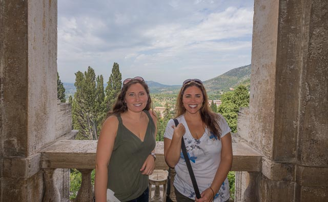 Kait and Alicia at a balcony in Villa d'Este in Tivoli, Lazio, Italy